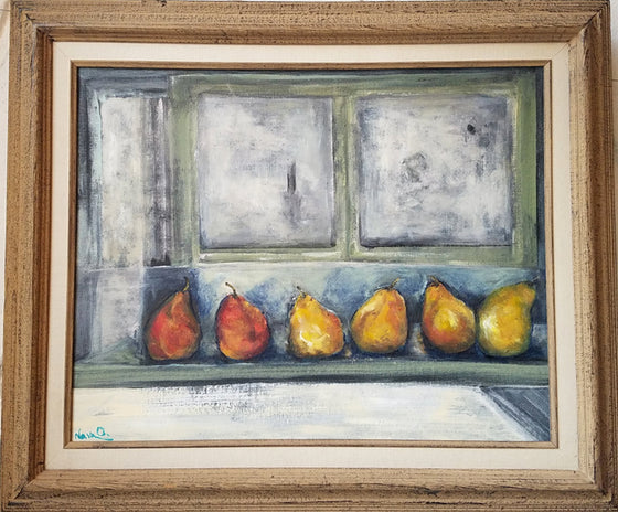 "Nava Ottenberg- ""Six Pears In A Window"" Acrylic Painting"