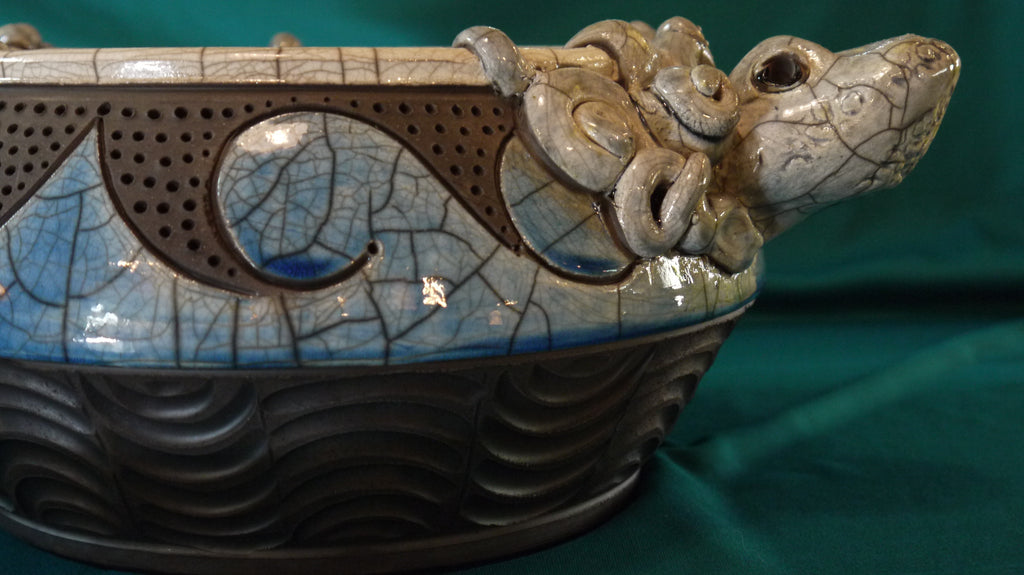 Robin Rodgers - Octopus Effigy Raku Pottery Bowl