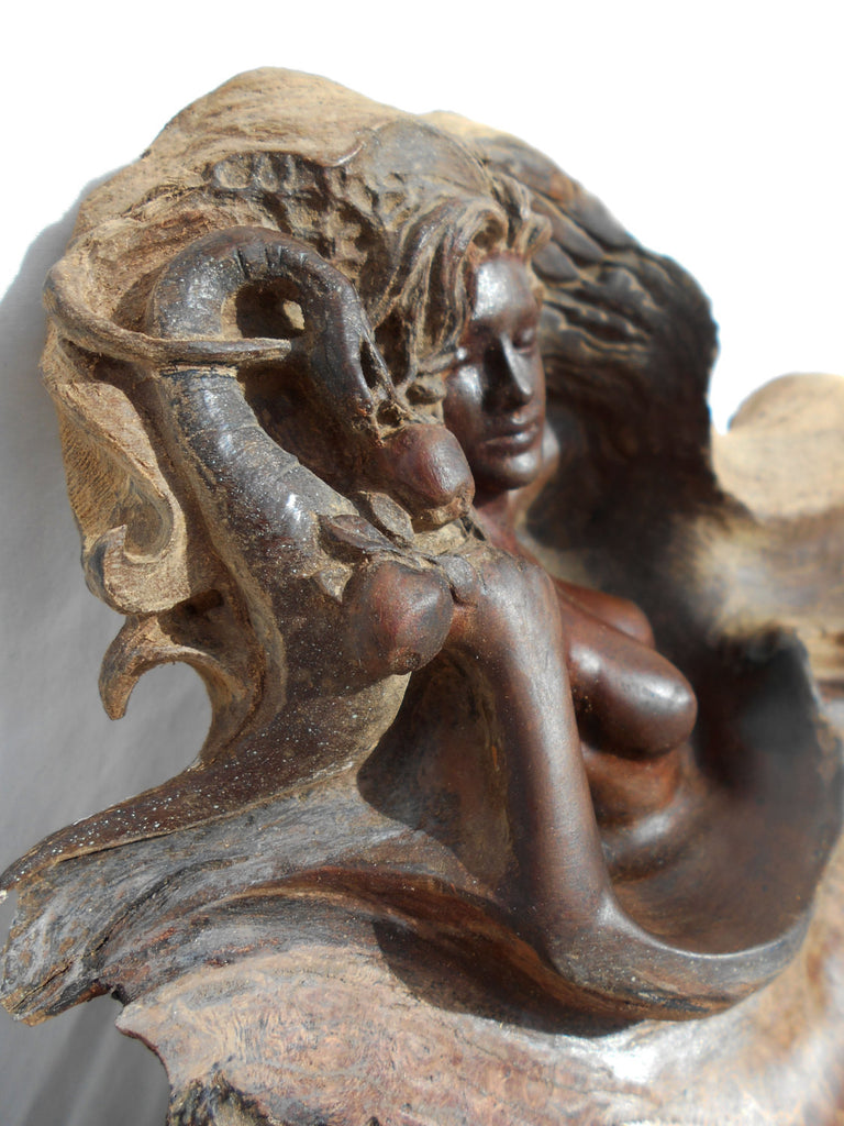 "Rick Cain - ""Eve and the Serpent"" Wood Sculpture"