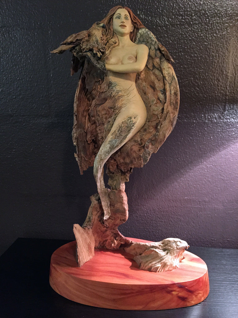 "Rick Cain - ""She Hawk"" Wood Sculpture"