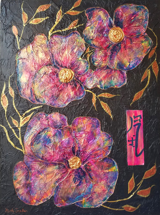 "Ruth Jordan - ""Energy of Flowers"" Mixed Media Painting"