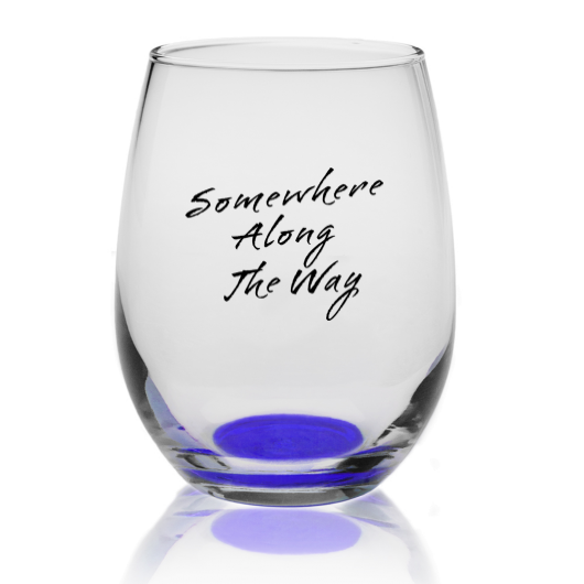 Somewhere Along The Way Libbey Stemless Wine Glass with Blue bottom -  9 oz
