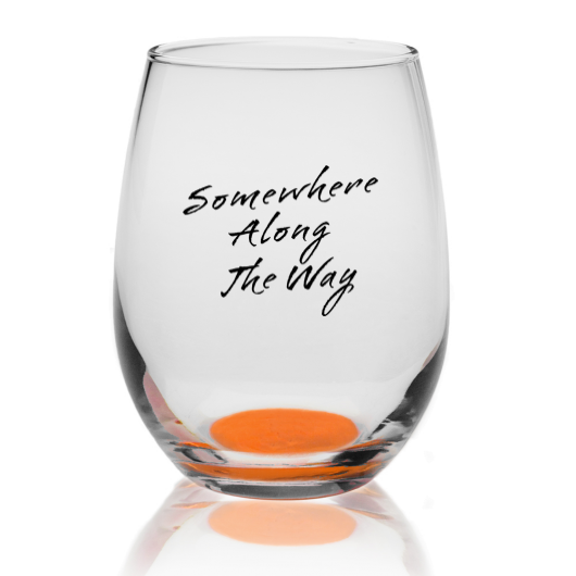 Somewhere Along The Way Libbey Stemless Wine Glass with Orange bottom -  9 oz