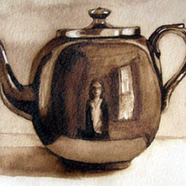 "Stephanie Clark - ""Teapot"" Walnut Ink Drawing"
