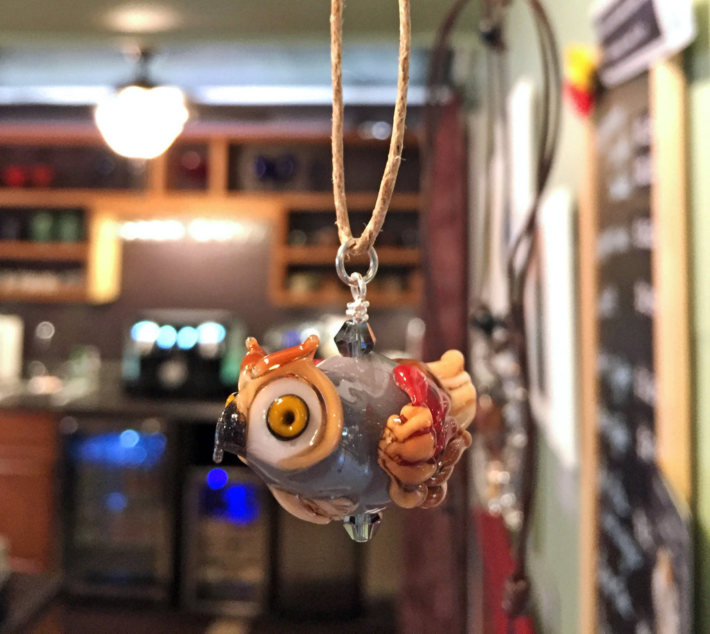 Treena Miles - Owl Blown Glass Pendant