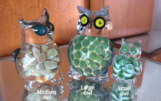 Handblown Glass Owl Figurines by Treena Miles (Set of 3)