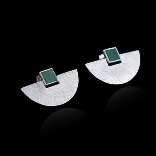 Handmade Sterling Silver Geometric Stud Earrings - Natural Aventurine - Tafani's