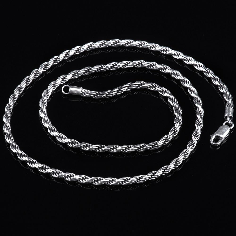 2/3MM Rope Chain Sterling Silver Rhodium Plated - Tafani's