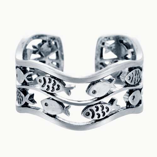 Fish Wave Ring - Resizable - Tafani's