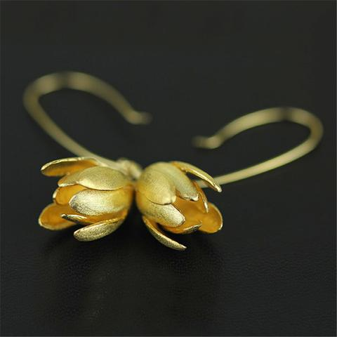 Sterling Silver Flower Drop Earrings - Gold plated - Tafani's