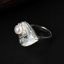 Load image into Gallery viewer, Handmade Sterling Silver Leaf Ring - Natural Pearl - Tafani's