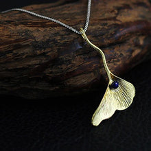 Load image into Gallery viewer, Handmade Sterling Silver Ginkgo Leaf Pendant - Natural Lapis - Tafani's