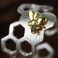 Load image into Gallery viewer, Handmade Honeybee on Honeycomb Ring - Sterling Silver - Tafani's