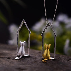 Sterling Silver Cat House Pendant - Handmade