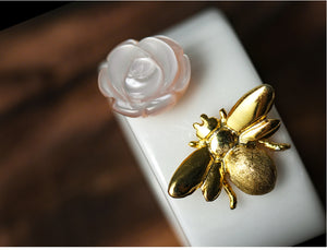 Handmade Bee and Rose Ceramic Ring + Sterling Silver - Tafani's