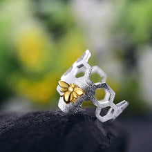 Load image into Gallery viewer, Handmade Honeybee on Honeycomb Ring - Sterling Silver