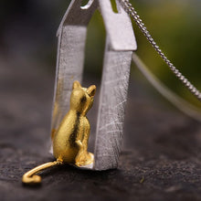 Load image into Gallery viewer, Sterling Silver Cat House Pendant - Handmade