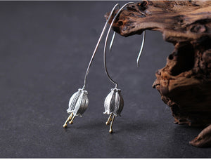 Sterling Silver Bluebell Drop Earrings - Handmade - Tafani's