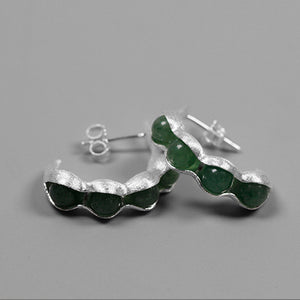 Handmade Sterling Silver Pea Pod Drop Earrings - Natural Aventurine - Tafani's