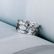 Load image into Gallery viewer, Silver Fish Bracelet & Ring Set - Resizable - Tafani's