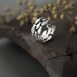 Sterling Silver Fish Ring - Matte - Tafani's