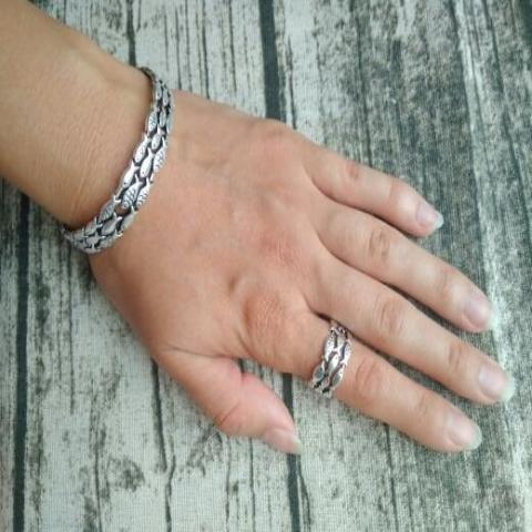 Silver Fish Bracelet & Ring Set - Resizable - Tafani's