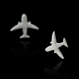 Airplane Stud Earrings - Sterling Silver - Tafani's
