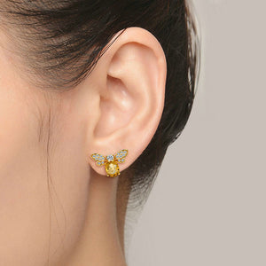 Sterling Silver Bee Stud Earrings - Natural Citrine, Peridot - Tafani's