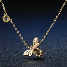 Load image into Gallery viewer, Sterling Silver Bee Necklace - Natural Citrine, Peridot - Tafani's
