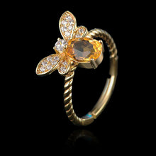 Load image into Gallery viewer, Sterling Silver Bee Ring - Natural Citrine - Tafani's