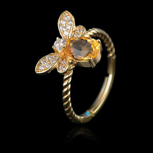 Sterling Silver Bee Ring - Natural Citrine - Tafani's