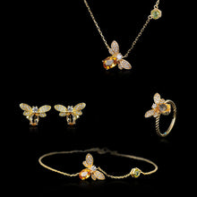Load image into Gallery viewer, Sterling Silver Bee Necklace & Bracelet & Stud Earrings & Ring Set - Citrine, Peridot, Zircons - Tafani's
