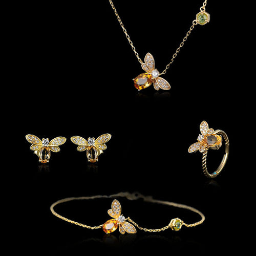 Sterling Silver Bee Necklace & Bracelet & Stud Earrings & Ring Set - Citrine, Peridot, Zircons - Tafani's