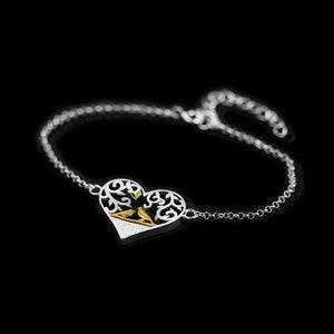 Sterling Silver Forever Lovers Birds Heart Bracelet - Tafani's