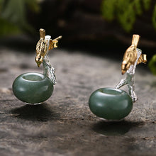 Load image into Gallery viewer, 2 in 1 Bird and Nest Earrings Sterling Silver + Natural Aventurine - Tafani's
