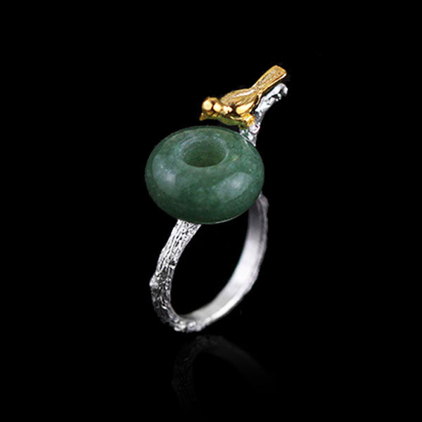 Handmade Sterling Silver Bird and Nest Ring - Natural Aventurine / Jade - Tafani's