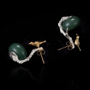 2 in 1 Bird and Nest Earrings Sterling Silver + Natural Aventurine - Tafani's
