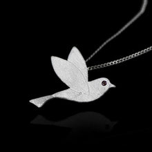 Load image into Gallery viewer, Handmade Sterling Silver Bird Pendant - Zircon - Tafani's