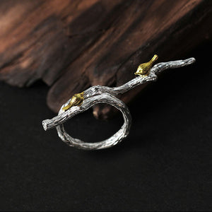 Handmade Sterling Silver Birds on Branch Ring - Tafani's