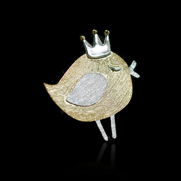 Sterling Silver Bird with Crown Brooch - Handmade - Tafani's