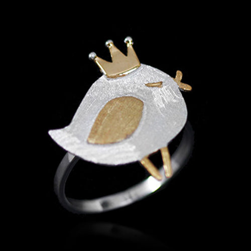 Sterling Silver Bird with Crown Ring - Handmade - Tafani's