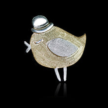 Load image into Gallery viewer, Sterling Silver Bird with Hat Brooch - Handmade - Tafani's