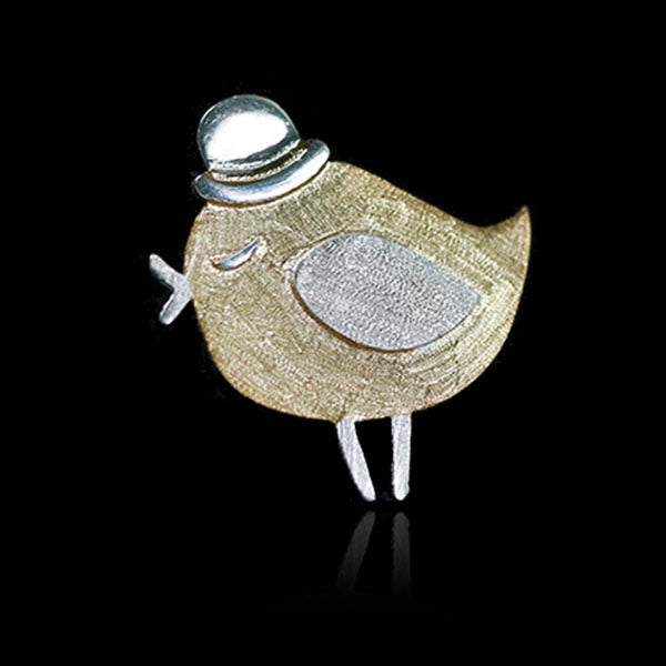 Sterling Silver Bird with Hat Brooch - Handmade - Tafani's