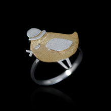 Load image into Gallery viewer, Sterling Silver Bird with Hat Ring - Handmade - Tafani's