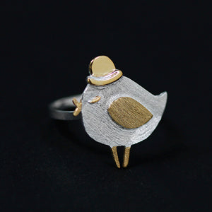 Sterling Silver Bird with Hat Ring - Handmade - Tafani's