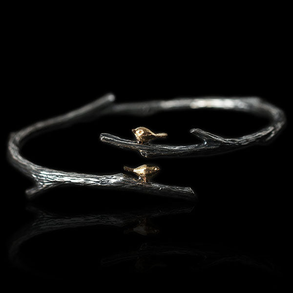 Sterling Silver Birds on Branch Bracelet - Handmade - Tafani's