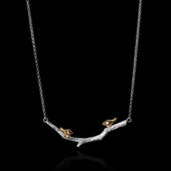 Sterling Silver Birds on Branch Necklace - Handmade - Tafani's