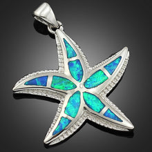 Load image into Gallery viewer, Sterling Silver Starfish Pendant - Blue Opal - Tafani's