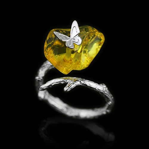 Handmade Sterling Silver Butterfly Ring - Natural Amber - Tafani's