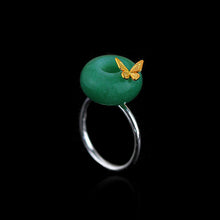 Load image into Gallery viewer, Handmade Sterling Silver Butterfly Ring - Natural Aventurine / Jade - Tafani's